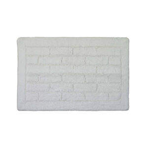 Cotton Brick White Bath Mat 50cm x 80cm