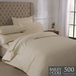 SINGLE DUVET COVER Lustrous Stripe Ivory 500tc