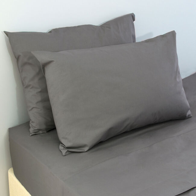 200 Threadcount Grey Housewife Pillowcase Pair