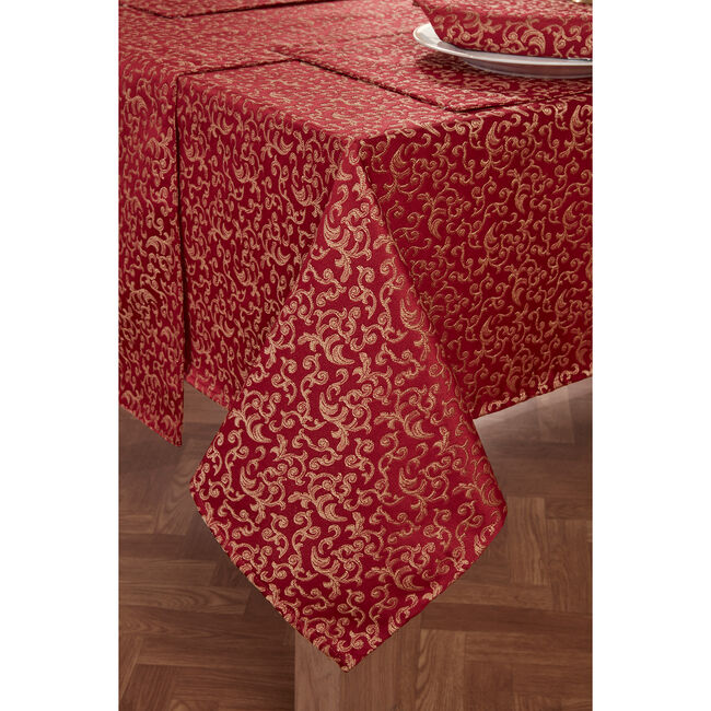 Versailles Table Cloth Red/Gold 160 x 183cm