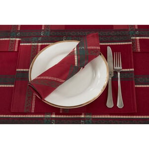 Plaid Damask Red Placemat 2PK