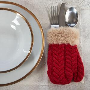 Mitten Red Cutlery Holder 4Pk