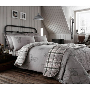 DOUBLE DUVET COVER Brushed Cotton Stag Charcoal