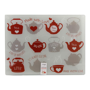 Teapots Red Glass Worktop Saver