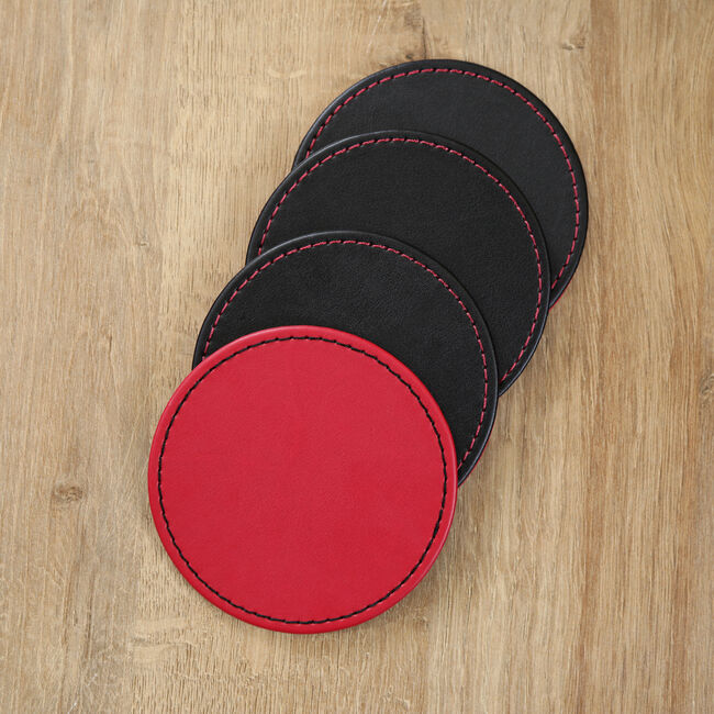 Reversible Round Coasters - Black & Red