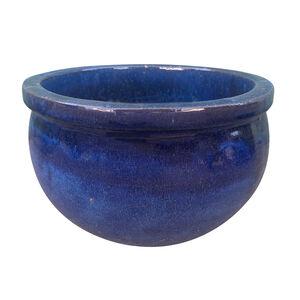 Large Wide Brim Ceramic Pot - Blue