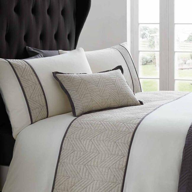 Linen Geo Charcoal Cushion 30x50cm
