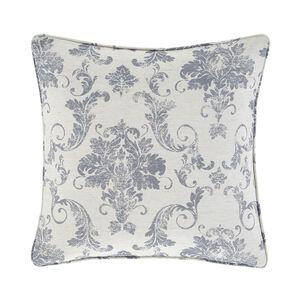 Distressed Damask Cushion 45x45cm - Blue