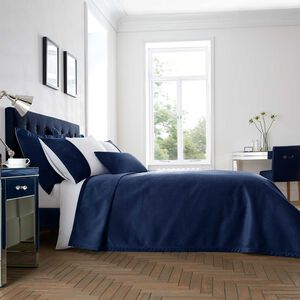 Ribeiro Velvet Bedspread Navy 200 x 220cm