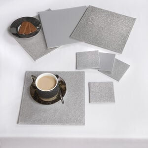 Reversible Square Glitter Placemats - Silver