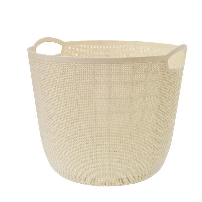 Hessian Cream Round Storage Basket 18L