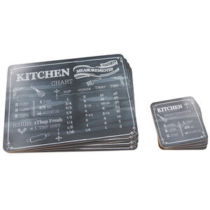 Kitchen Measurements Mats & Coasters 4Pk