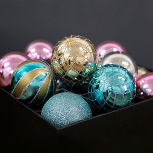Glitter Luxury Bauble Set - 12 Pack
