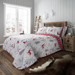 Starry Stag Bedspread 200 x 220cm - Grey