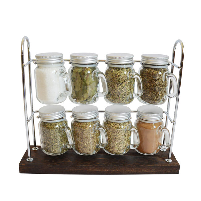 8 Mini Spices Jars With Chrome Rack