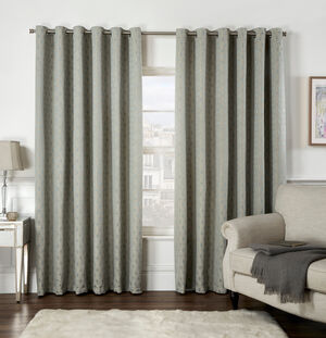 CHENILLE GEO Duck Egg 66x54 Curtain