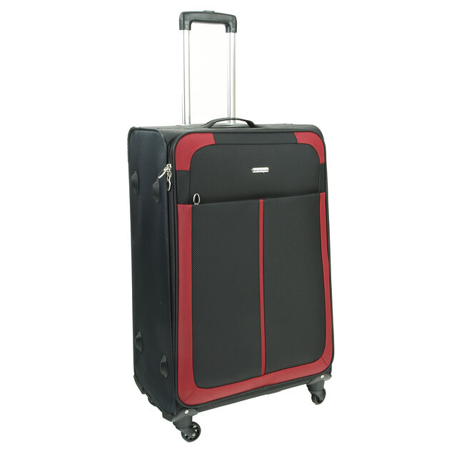 Large Black and Red Lightweight Suitcase