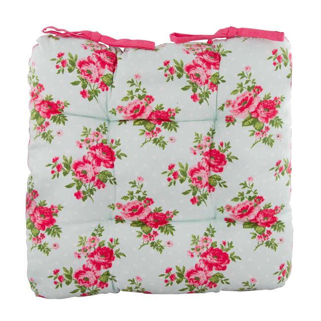 Floral Polka Kitchen Seat Pad Duck Egg