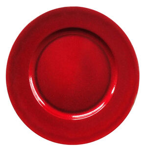 Round Glitter Charger Plate - Red