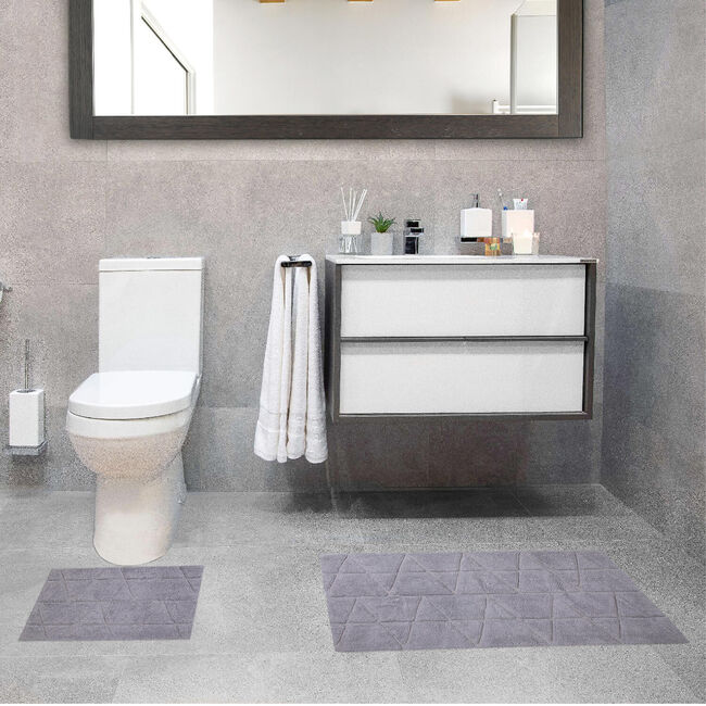 Triangle X-Large Bath Mat 2 Piece - Dove Grey