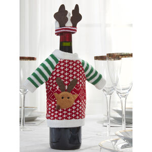 Reindeer Jumper Wine Bottle Decor