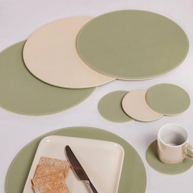 Reversible Round Coasters 4 Pack - Green & Cream