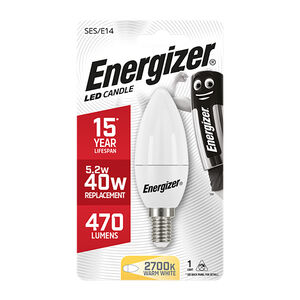 Energizer E14 LED Candle Bulb Opal 59W (EQ40W)