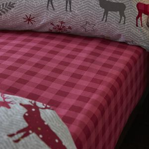 HERRINGBONE STAG BERRY Single Fitted Sheet