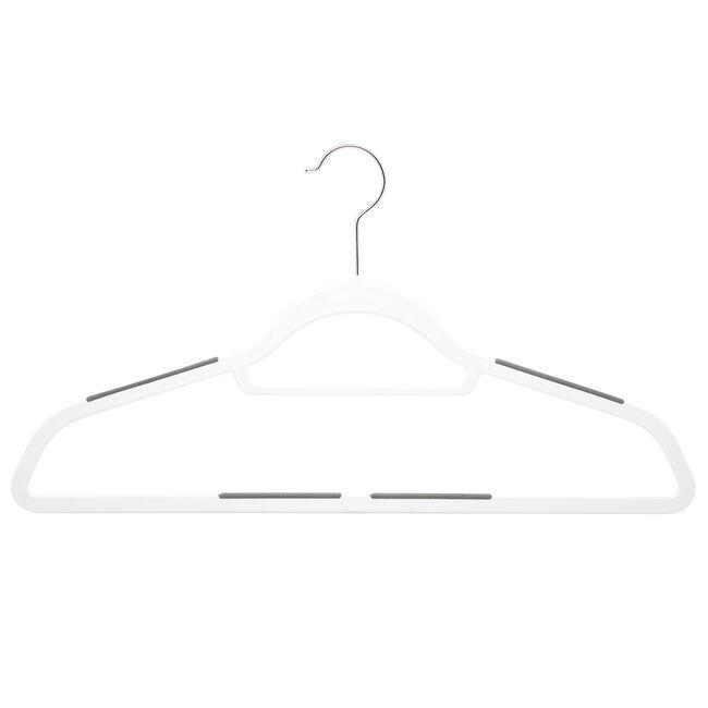 White Hangers with Anti Slip 10 Pack