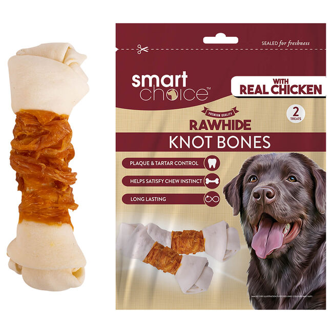 Rawhide Knot Bone with Chicken Wrap - 2 Pack