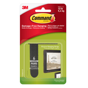 Command 6Pk Medium Picture Hanging Strips Black