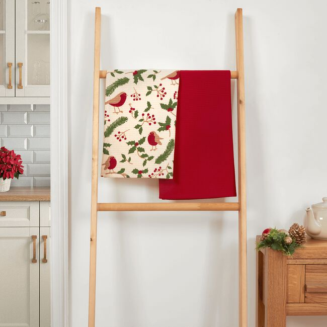 Santa & Presents Tea Towel - 2pack