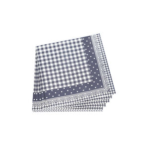 Lace Gingham Napkins - Navy