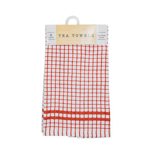 Mono Check Terra Tea Towels 2 Pack