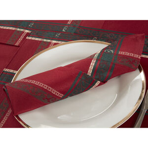 Plaid Damask Red Napkins 4PK