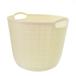 Hessian Cream Round Storage Basket 32L