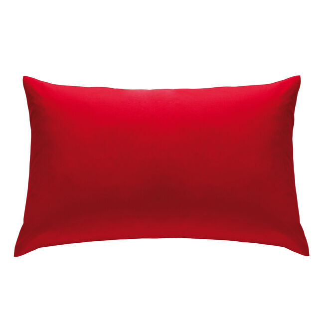 Pair of So Soft Percale Red Housewife Pillowcases