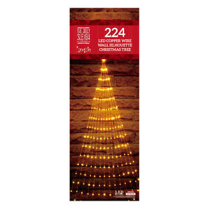 224 LED Copper Wire Wall Silhouette Christmas Tree