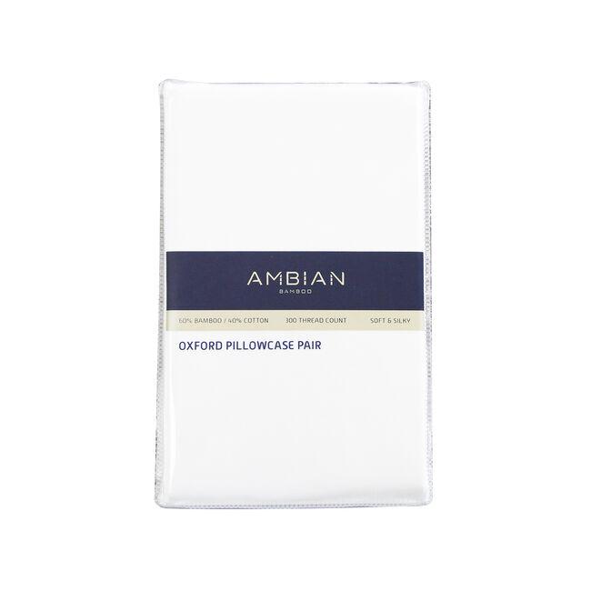 300TC Bamboo/Cotton Oxford Pillowcase Pair - White