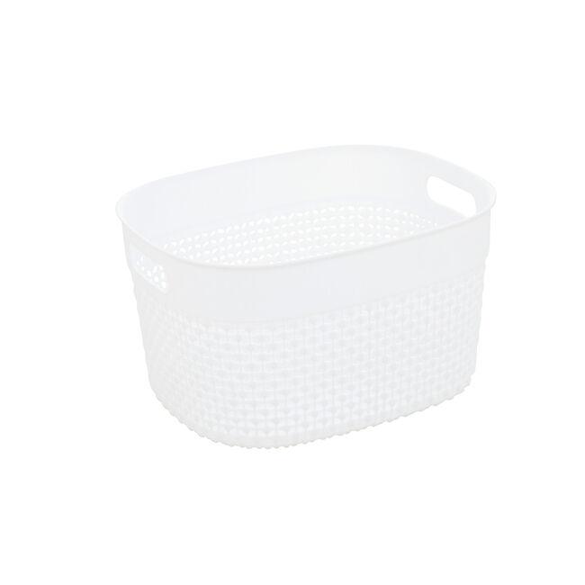 Dot White Storage Basket 6L