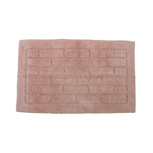 Cotton Brick Bath Mat Peach