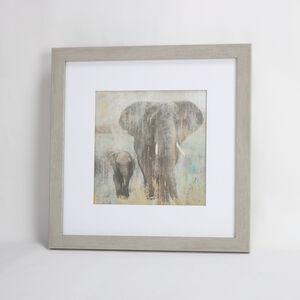 Elephant & Calf Framed Print 55x55cm