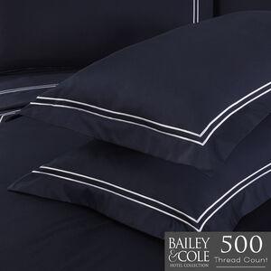 Double Stitch Oxford 500TC Pillowcase Pair - Navy