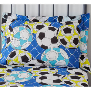Football Graffiti Oxford Pillowcase Pair - Blue