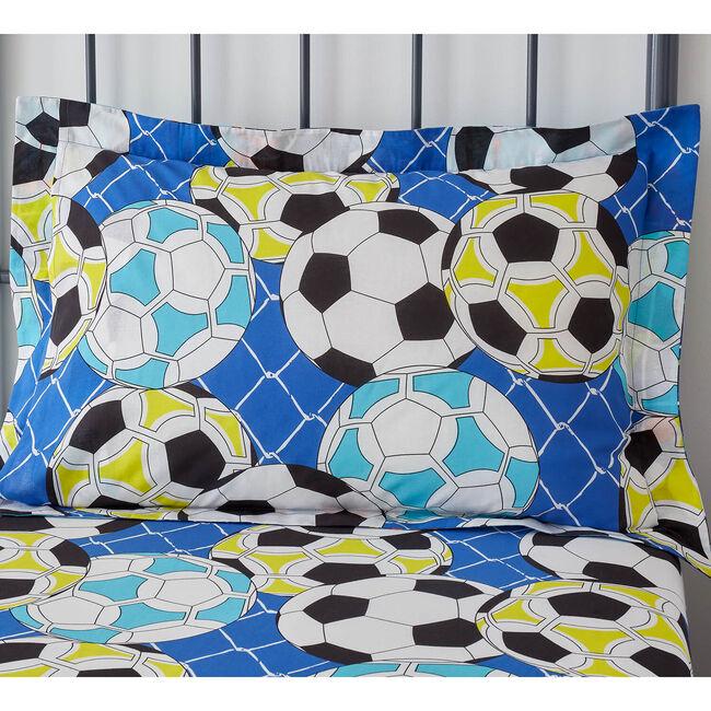 Football Graffiti Oxford Pillowcase Pair - Blue