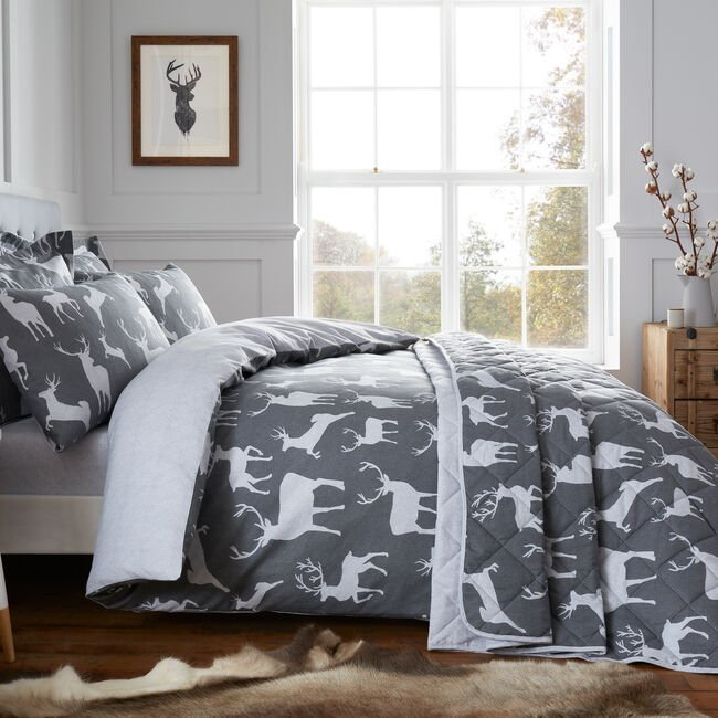 SUPER KING DUVET COVER Brushed Cotton Textured Stag