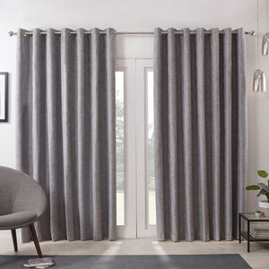 Blackout & Thermal Basketweave Curtains - Grey