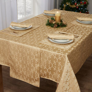 Scroll Table Cloth Gold 160 x 230cm