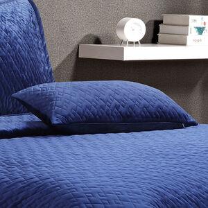 Quilted Hotel Velvet Navy Cushion 30x50cm