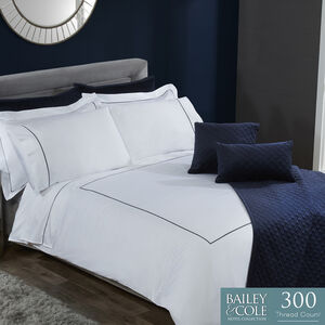 SINGLE DUVET COVER Cable Navy 300tc